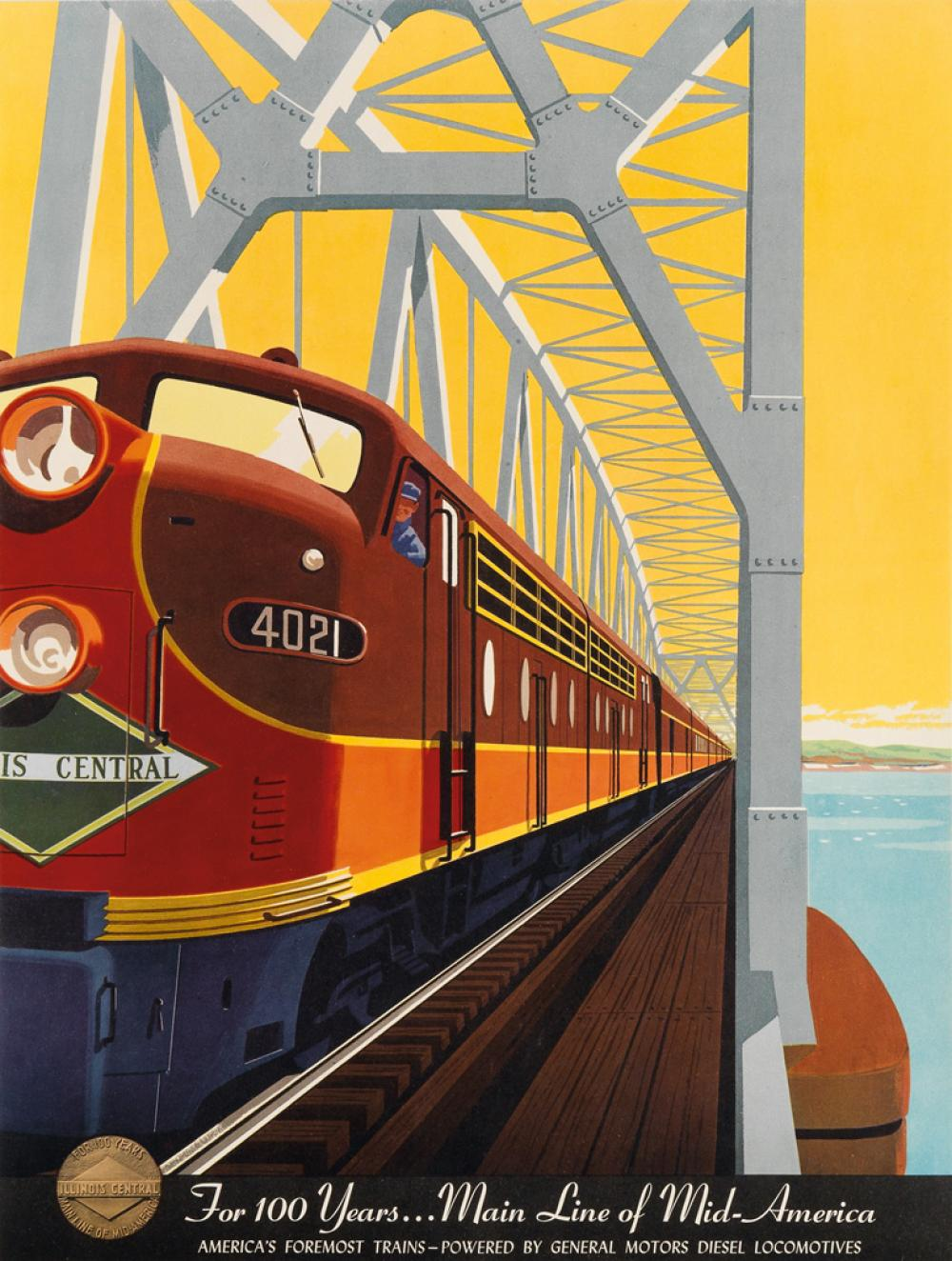 BERN HILL (1911-1977). FOR 100 YEARS . . . MAIN LINE OF MID - AMERICA. 1951. 23x18 inches, 60x45 cm.