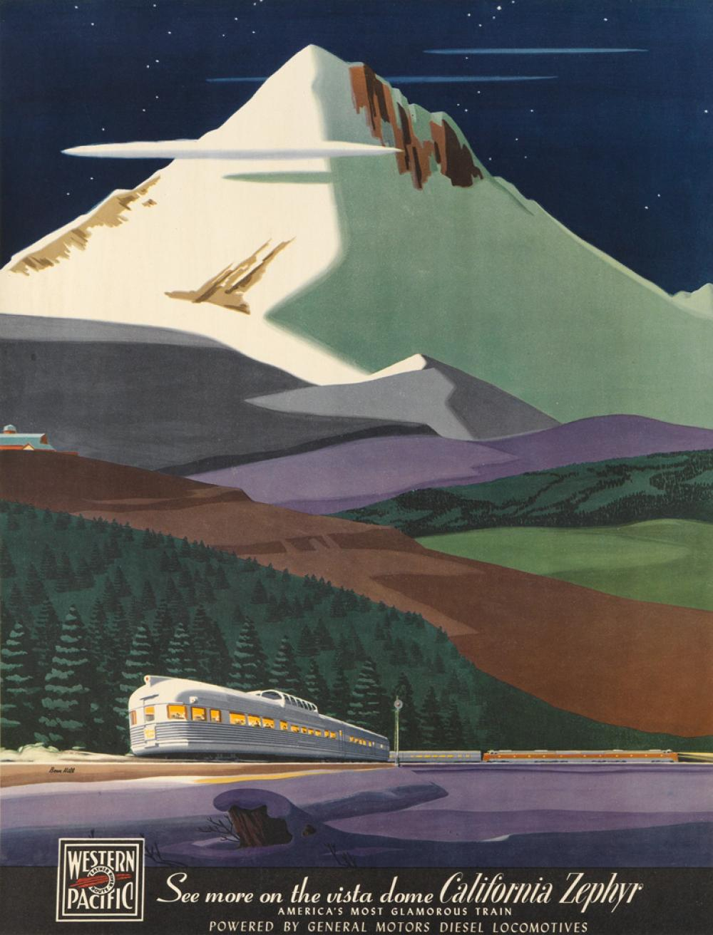 BERN HILL (1911-1977). SEE MORE ON THE VISTA DOME / CALIFORNIA ZEPHYR. Circa 1950s. 23x18 inches, 60x45 cm.