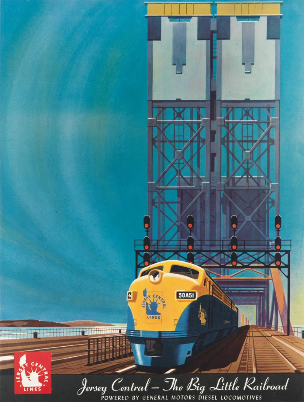 BERN HILL (1911-1977). JERSEY CENTRAL - THE BIG LITTLE RAILROAD. Circa 1950s. 24x18 inches, 61x45 cm.