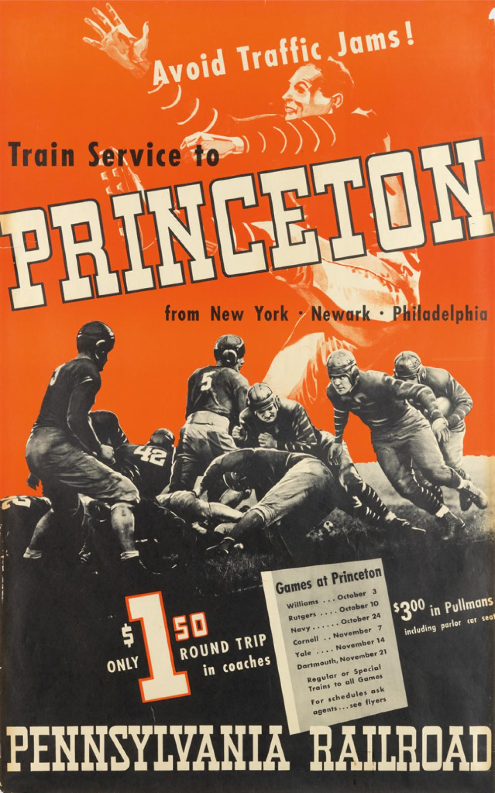 DESIGNER UNKNOWN. TRAIN SERVICE TO PRINCETON / PENNSYLVANIA RAILROAD. 1936. 45x25 inches, 114x63 cm.