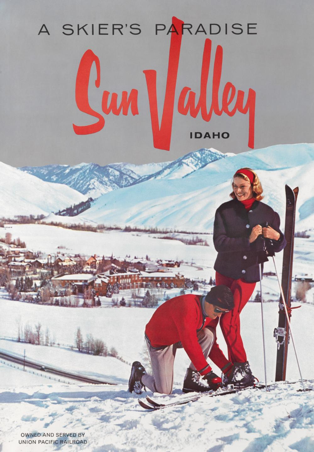 DESIGNER UNKNOWN. A SKIER'S PARADISE / SUN VALLEY IDAHO. Circa 1950s. 34x24 inches, 88x63 cm.