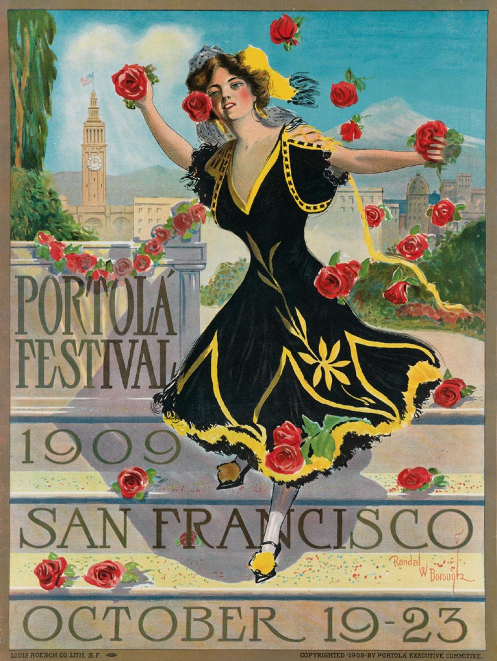RANDAL W. BOROUGH (1878-1951). PORTOLA FESTIVAL / SAN FRANCISCO. 1909. 27x21 inches, 70x53 cm. Louis Roesch Co., San Francisco.