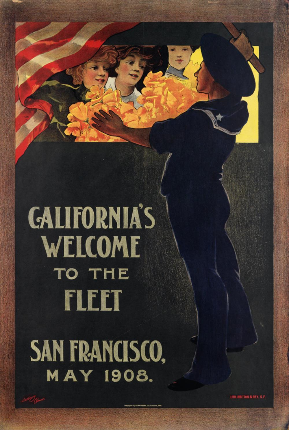 SIDNEY ARMER (1871-1962). CALIFORNIA'S WELCOME TO THE FLEET / SAN FRANCISCO. 1908. 39x27 inches, 101x68 cm. Britton & Rey, San Francis