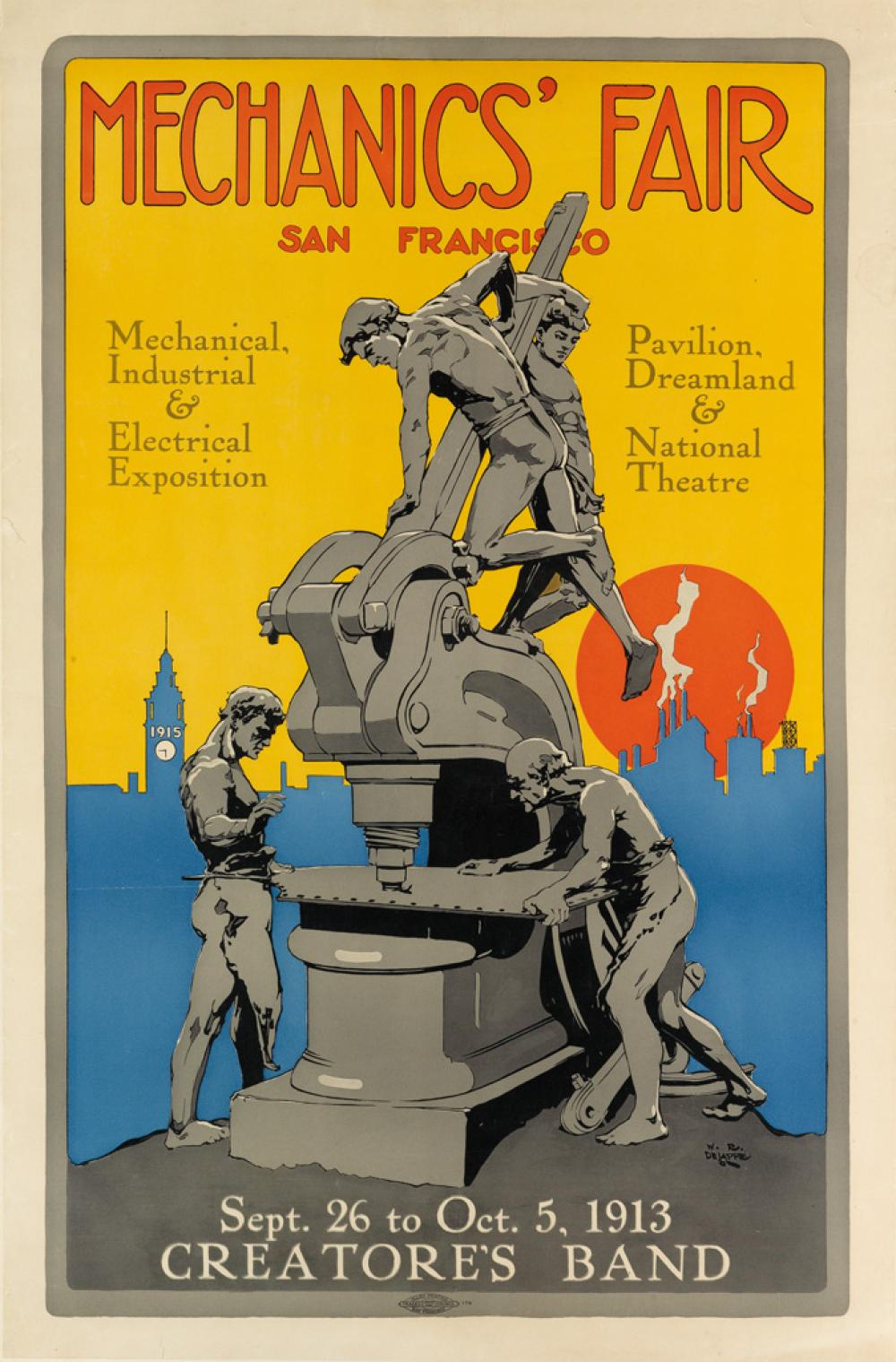 WESLEY RAYMOND DE LAPPE (1887-1952). MECHANICS' FAIR / SAN FRANCISCO. 1913. 30x20 inches, 76x50 cm. Allied Printing, San Francisco.