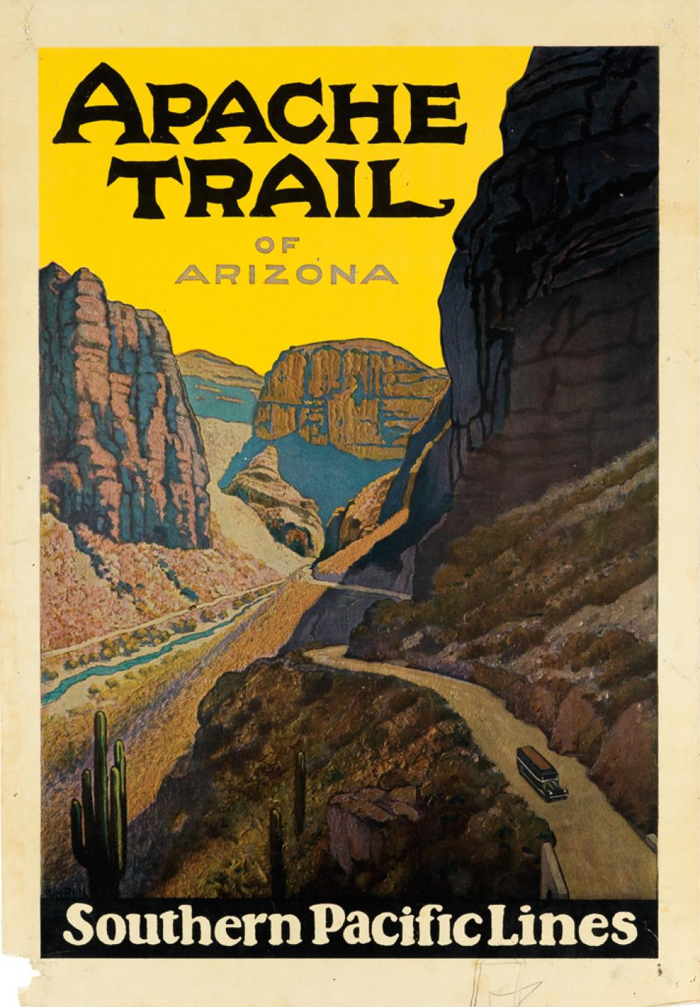 WILLIAM H. BULL (1861-1940). APACHE TRAIL OF ARIZONA / SOUTHERN PACIFIC LINES. 23x16 inches, 58x40 cm.