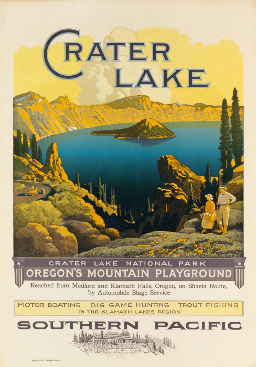 WILLIAM H. BULL (1861-1940). CRATER LAKE / SOUTHERN PACIFIC. 1923. 23x16 inches, 58x40 cm.