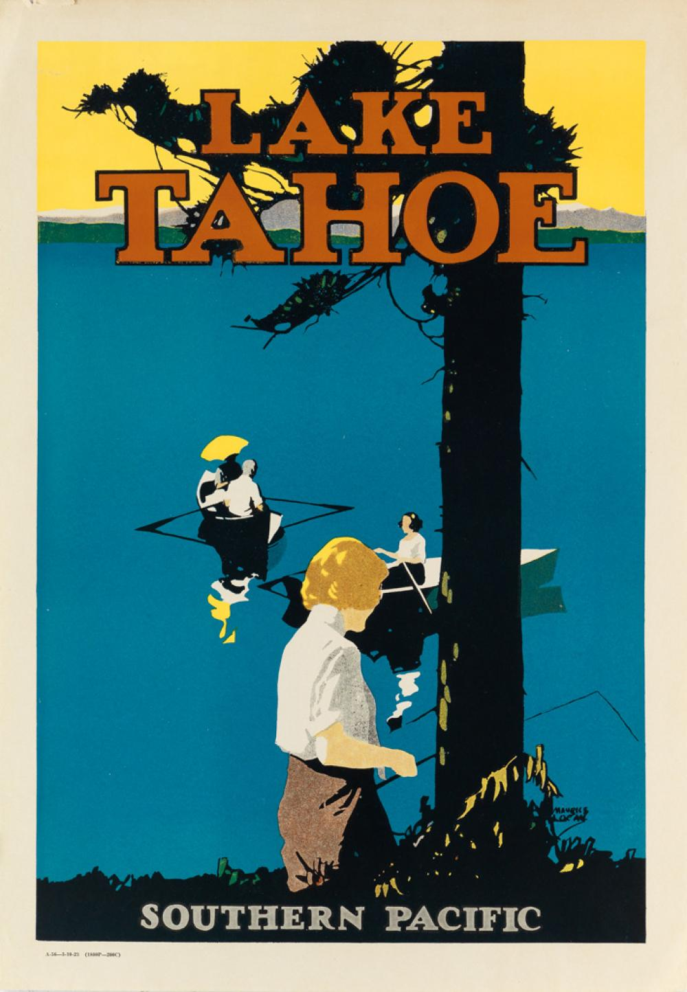 MAURICE LOGAN (1886-1977). LAKE TAHOE / SOUTHERN PACIFIC. 1923. 22x16 inches, 57x40 cm.