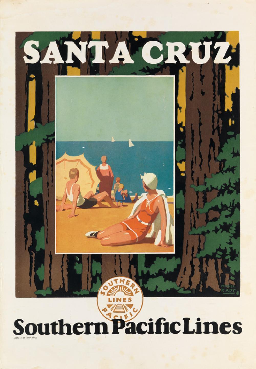 MICHEL KADY (1901-1977). SANTA CRUZ / SOUTHEN PACIFIC LINES. 1926. 23x16 inches, 58x40 cm.