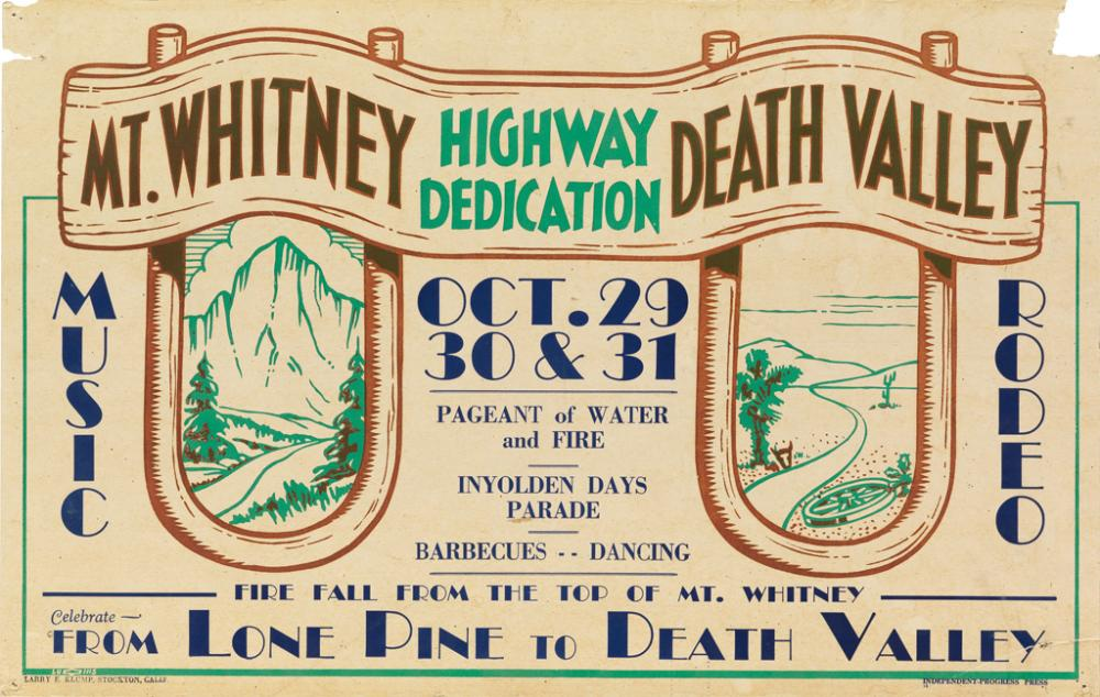 LARRY E. KLUMP (DATES UNKNOWN). MT. WHITNEY / DEATH VALLEY / HIGHWAY DEDICATION. 1937. 14x22 inches, 35x56 cm. Independent-Progress Pre