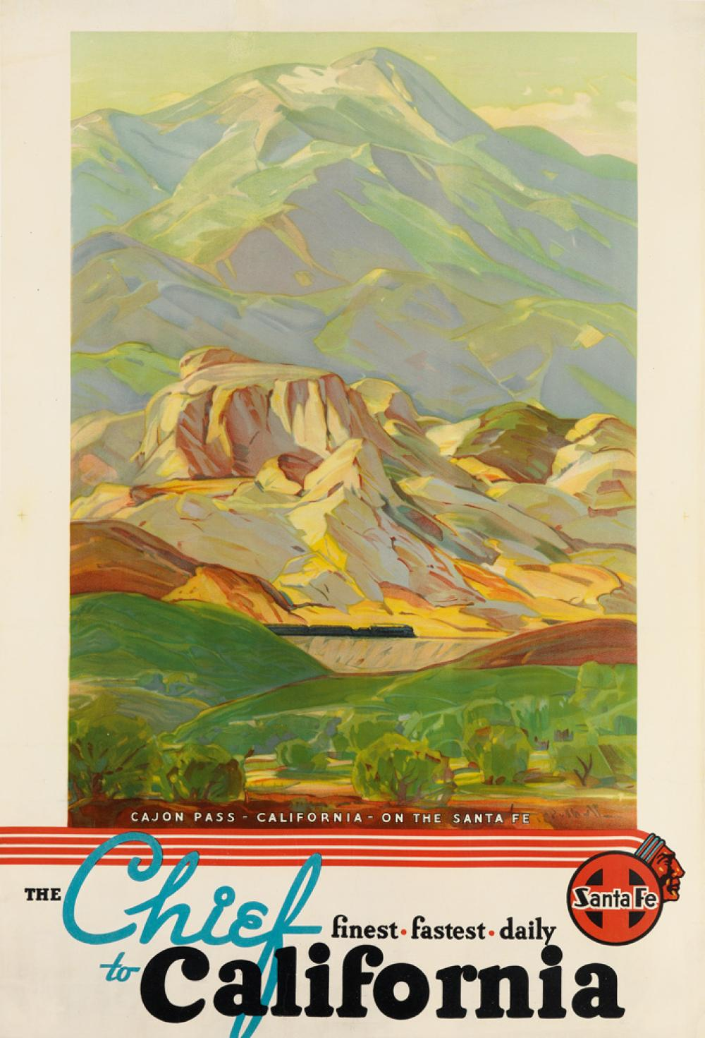 HANSON PUTHUFF (1875-1972). THE CHIEF TO CALIFORNIA / CAJON PASS. Circa 1936. 41x28 inches, 108x71 cm.