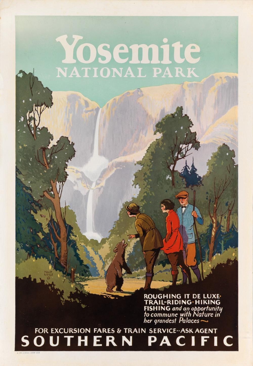 PHILIP LITTLE (1887-1960). YOSEMITE NATIONAL PARK / SOUTHERN PACIFIC. 1924. 23x16 inches, 58x40 cm.