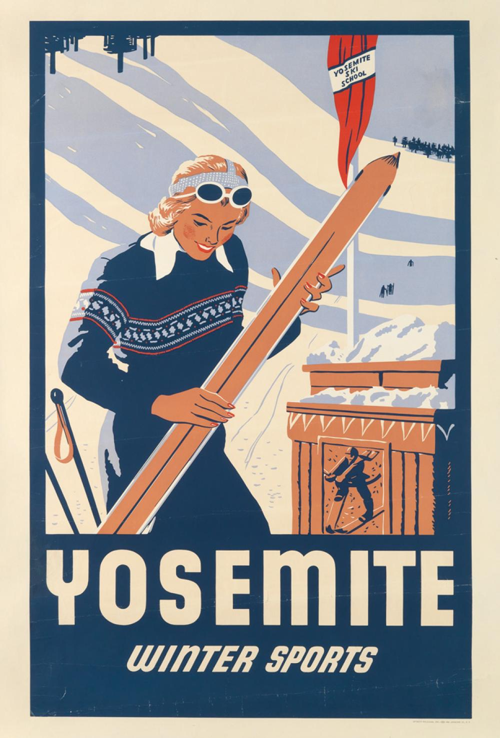 DESIGNER UNKNOWN. YOSEMITE WINTER SPORTS. Circa 1935. 41x28 inches, 106x72 cm. Sterett Williams, Inc., San Francisco.