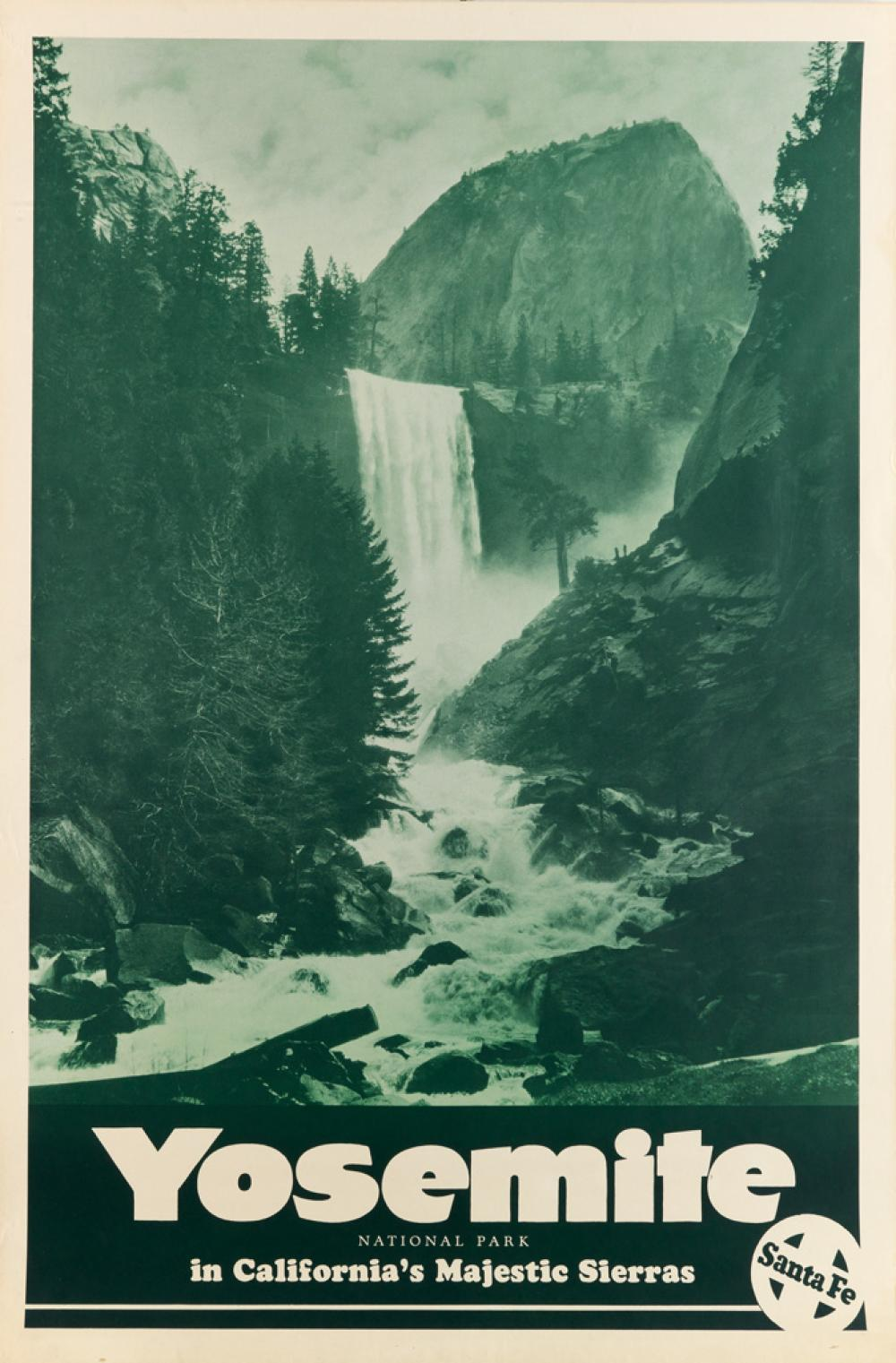 DESIGNER UNKNOWN. YOSEMITE NATIONAL PARK / IN CALIFORNIA'S MAJESTIC SIERRAS. Circa 1938. 36x24 inches, 91x61 cm.
