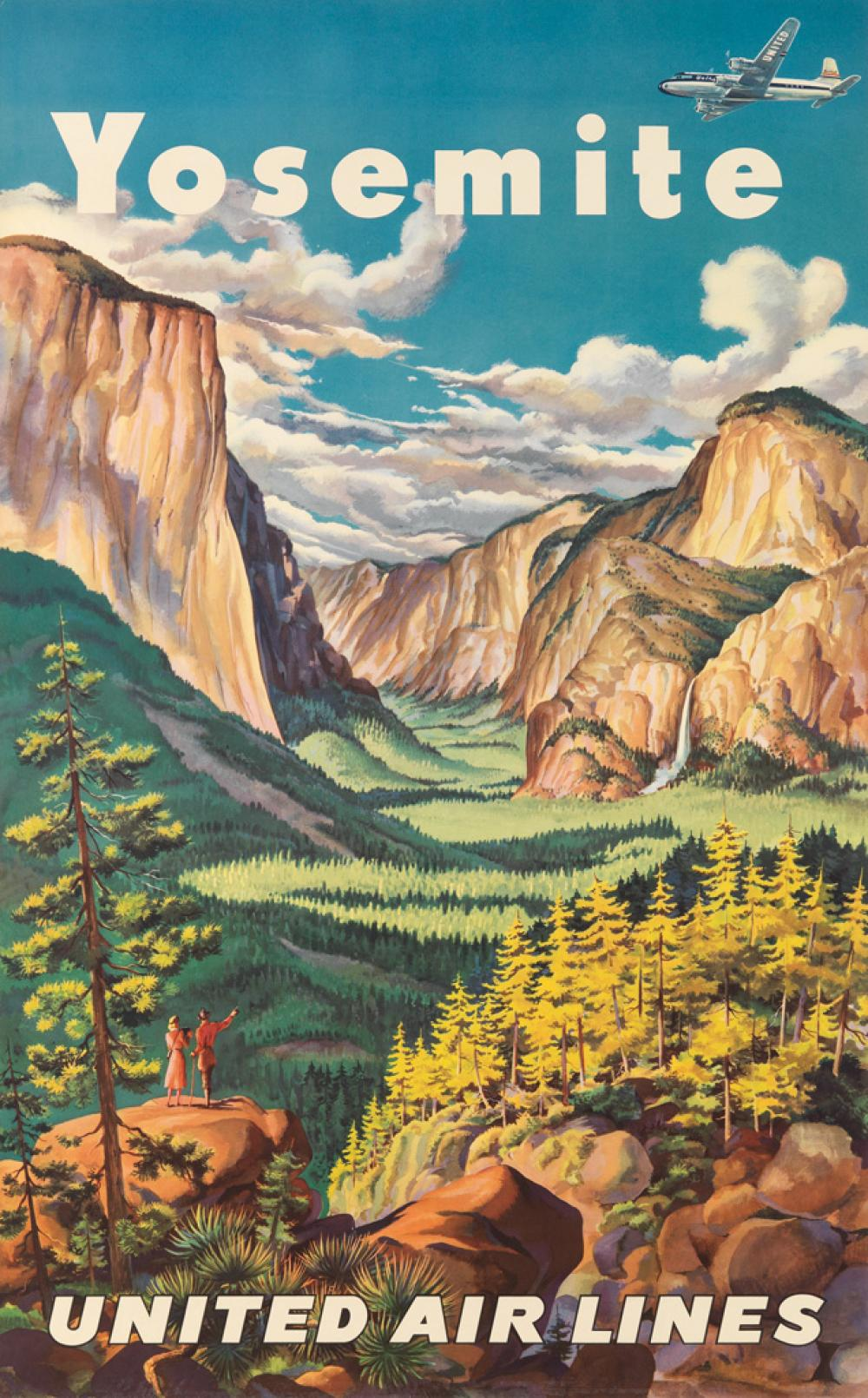 JOSEPH FEHER (1908-1987). YOSEMITE / UNITED AIR LINES. 39x24 inches, 101x63 cm.