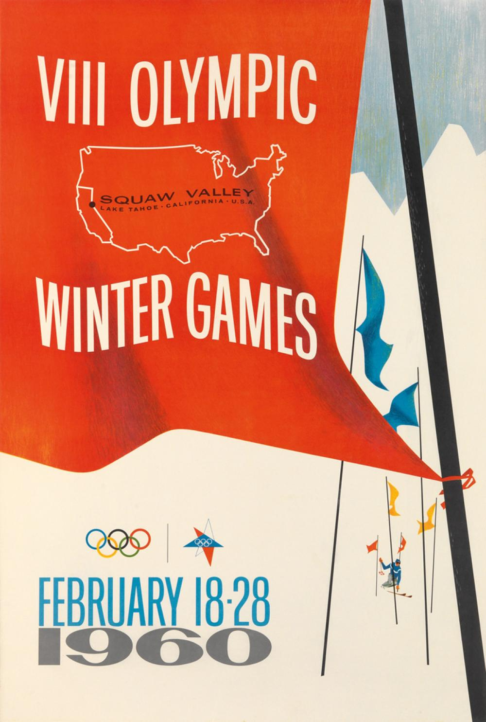 DESIGNER UNKNOWN. VIII OLYMPIC WINTER GAMES / SQUAW VALLEY. 1960. 35x24 inches, 90x61 cm.
