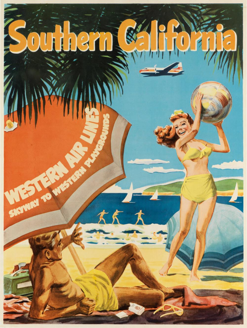 DESIGNER UNKNOWN. SOUTHERN CALIFORNIA / WESTERN AIR LINES. Circa 1954. 27x20 inches, 69x52 cm.
