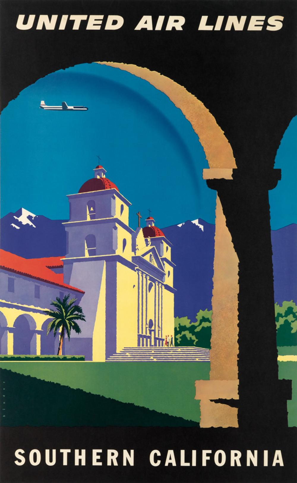JOSEPH BINDER (1898-1972). UNITED AIR LINES / SOUTHERN CALIFORNIA. Circa 1952. 39x24 inches, 101x63 cm.