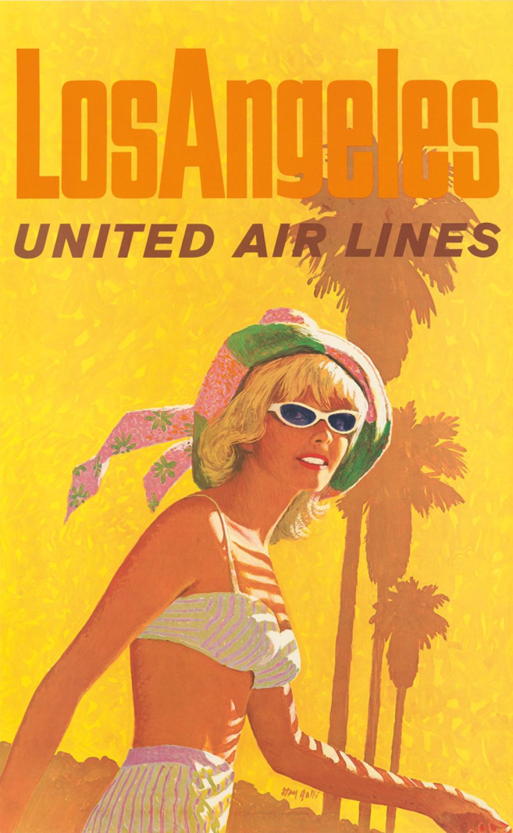 STANLEY WALTER GALLI (1912-2009). LOS ANGELES / UNITED AIR LINES. Circa 1960s. 40x24 inches, 101x63 cm.
