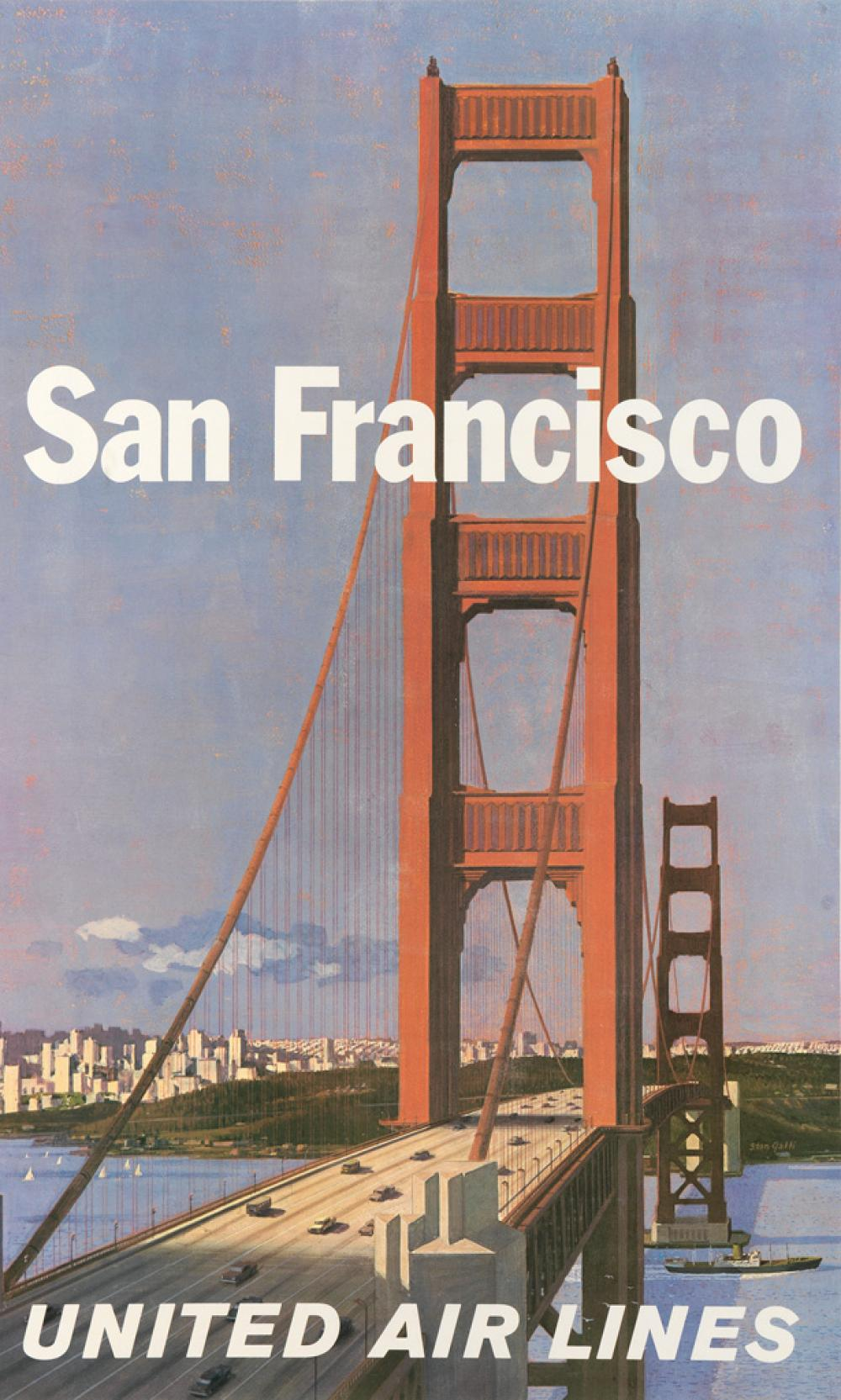 STANLEY WALTER GALLI (1912-2009). SAN FRANCISCO / UNITED AIR LINES. 40x24 inches, 101x61 cm.