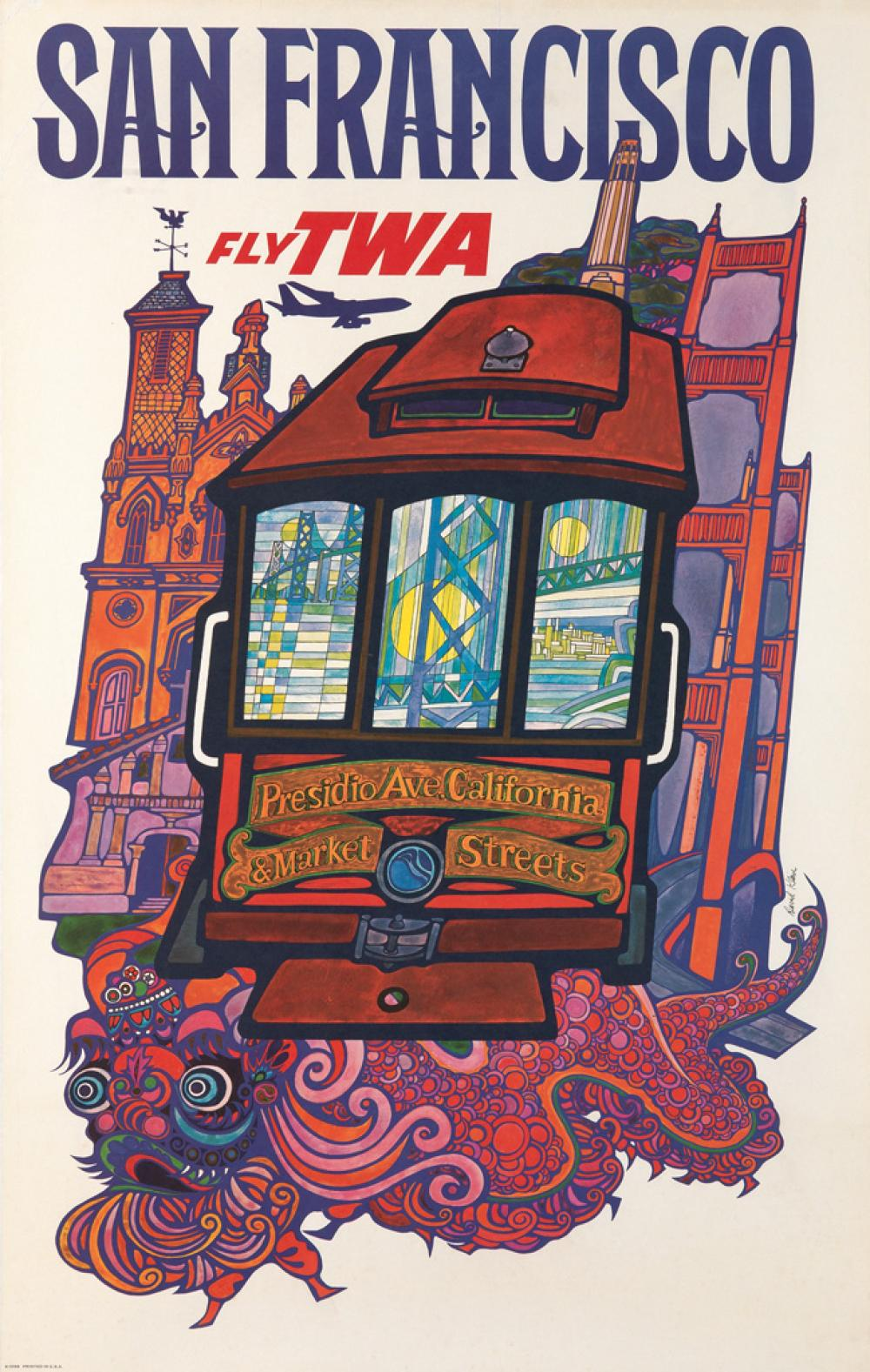 DAVID KLEIN (1918-2005). SAN FRANCISCO / FLY TWA. 39x25 inches, 100x63 cm.