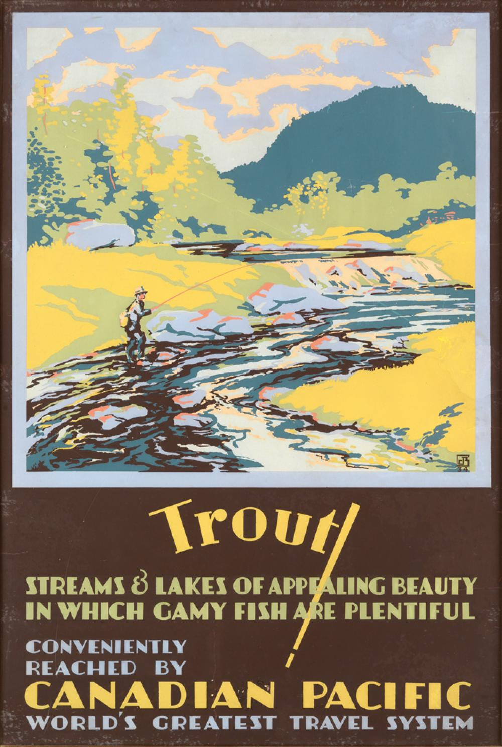 CHARLES JAMES GREENWOOD (1893-1965). TROUT! / CANADIAN PACIFIC. 1934. 35x23 inches, 89x60 cm.