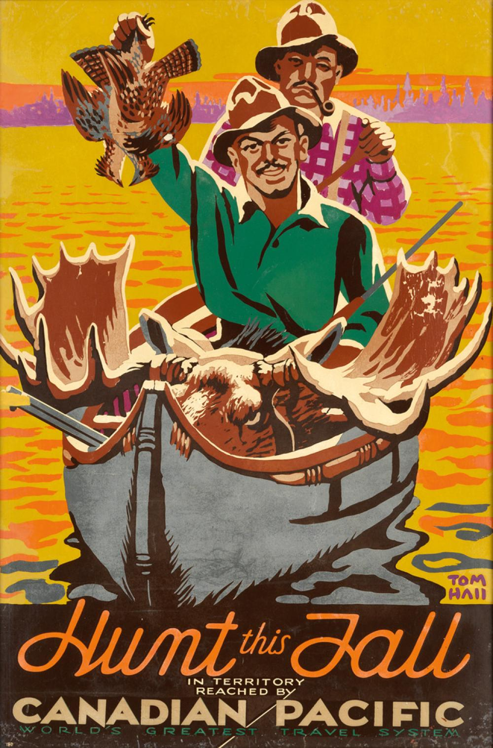 TOM HALL (1885-1972). HUNT THIS FALL / CANADIAN PACIFIC. Circa 1940. 36x23 inches, 91x60 cm.