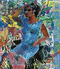 LOUIS DELSARTE (1944 - ) Woman in a Blue Dress.