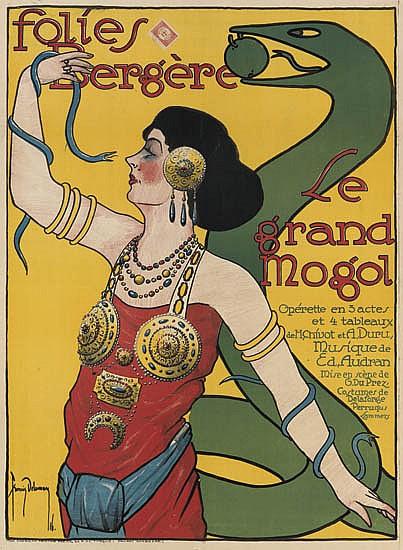 FRANCIS DELAMARE (1895-1972). FOLIES BERGÈRE / LE GRAND MOGOL. 1916. 33x24 inches, 85x62 cm. The American Printing Press.