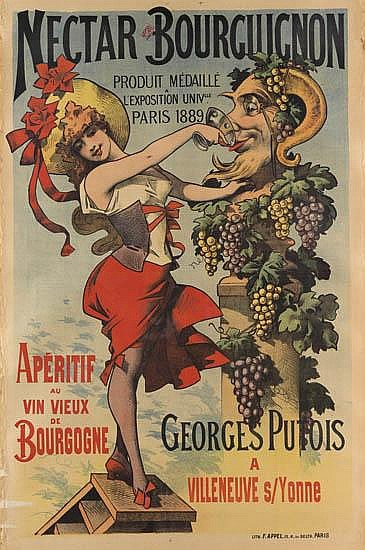 ALFRED CHOUBRAC (1853-1902). NECTAR BOURGUIGNON. 1891. 60x39 inches, 154x99 cm. F. Appel, Paris.