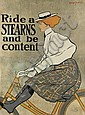 EDWARD PENFIELD (1866-1925). RIDE A STEARNS AND BE CONTENT. 1896. 54x40 inches, 137x103 cm. J. Ottman Litho, New York., Edward Penfield, Click for value