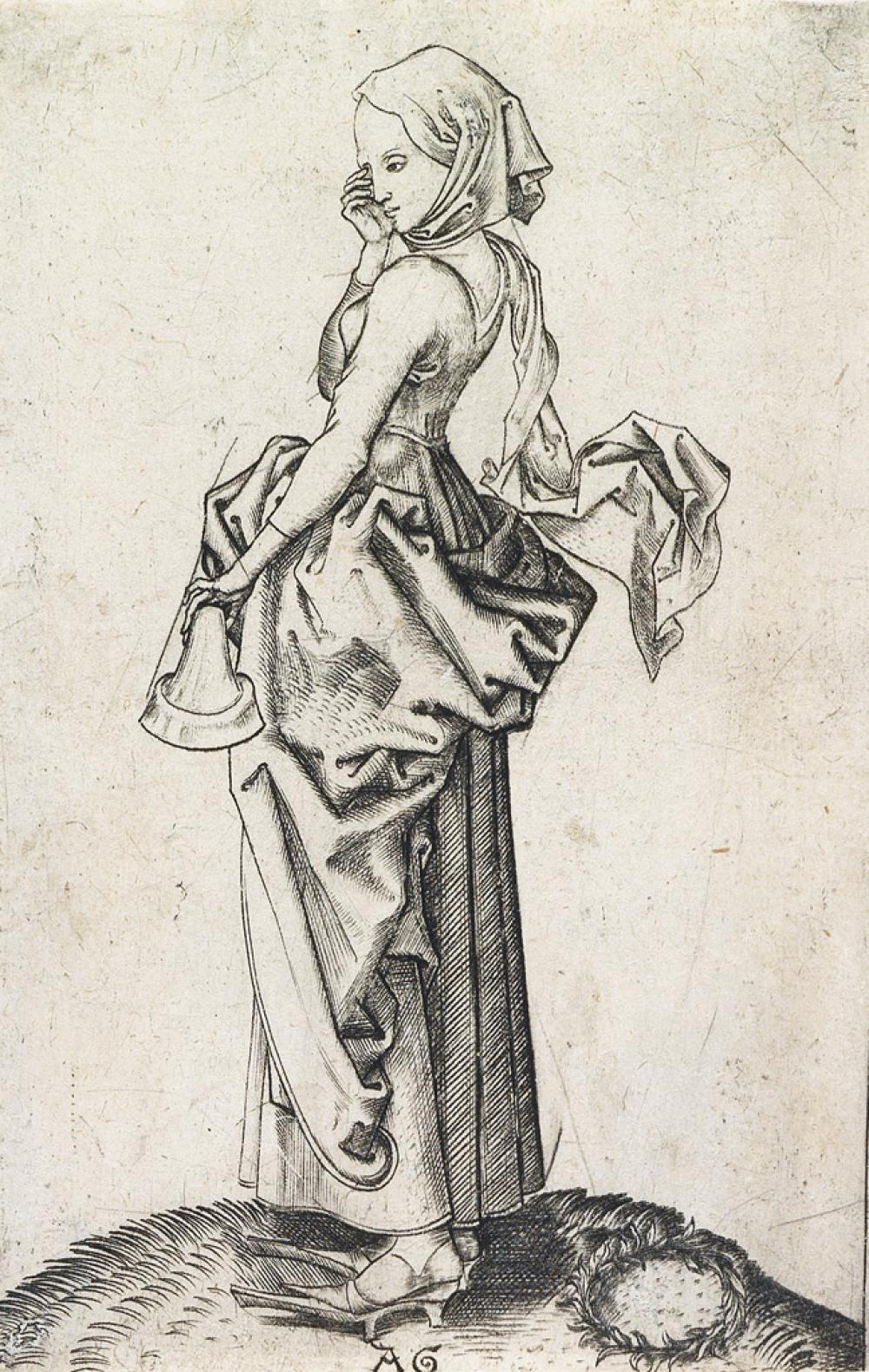 MASTER AG (ALBRECHT GLOCKENDON) (after Schongauer) The Fifth Foolish Virgin