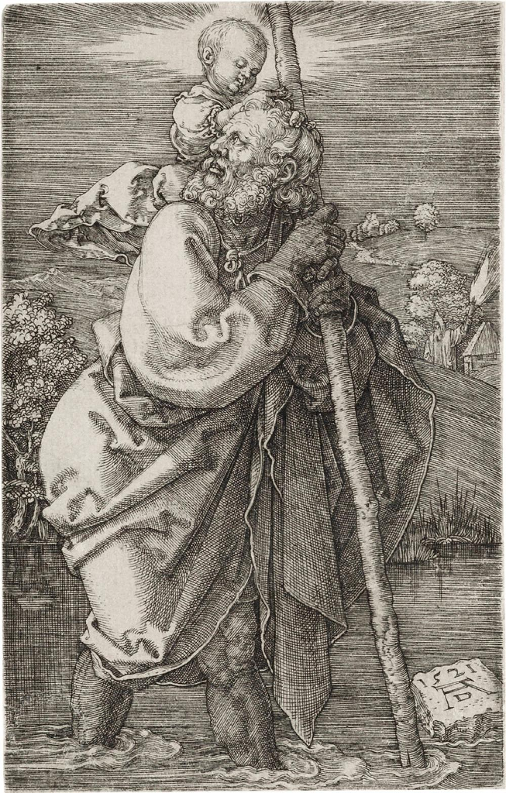 ALBRECHT DÜRER St. Christopher facing left.