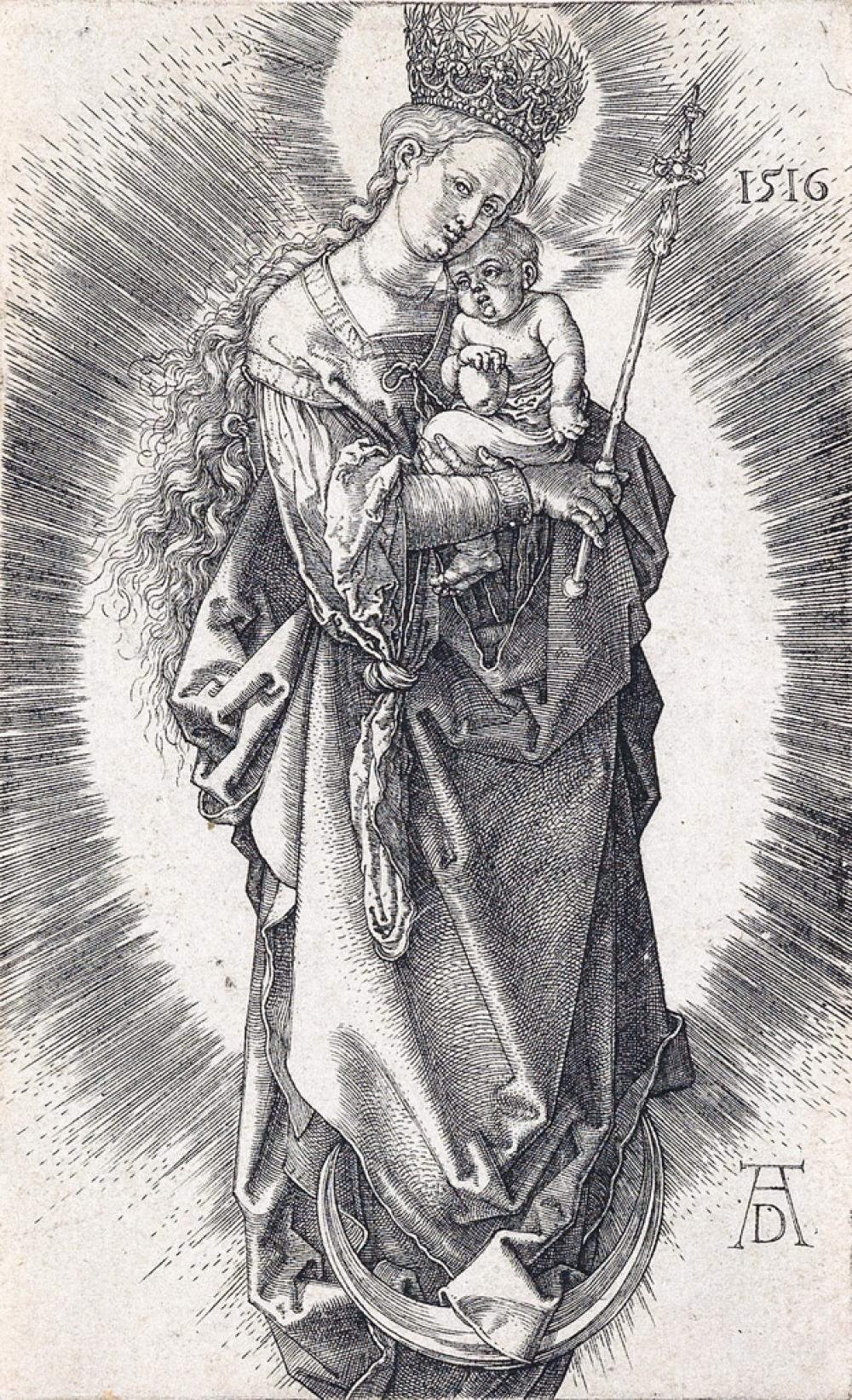 ALBRECHT DÜRER Virgin on the Crescent with a Sceptre and a Starry Crown.