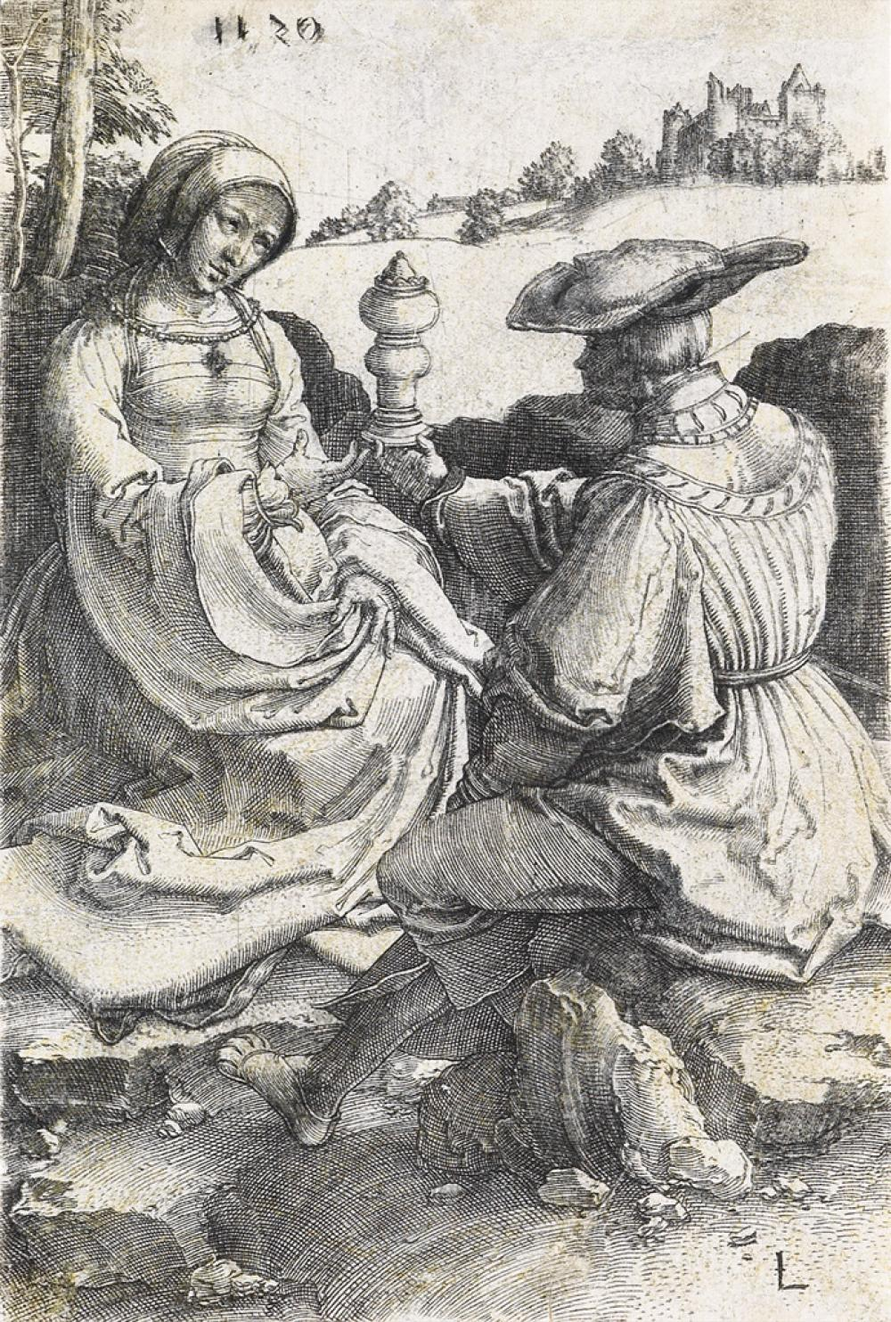 LUCAS VAN LEYDEN A Nobleman and a Lady Seated in a Landscape.