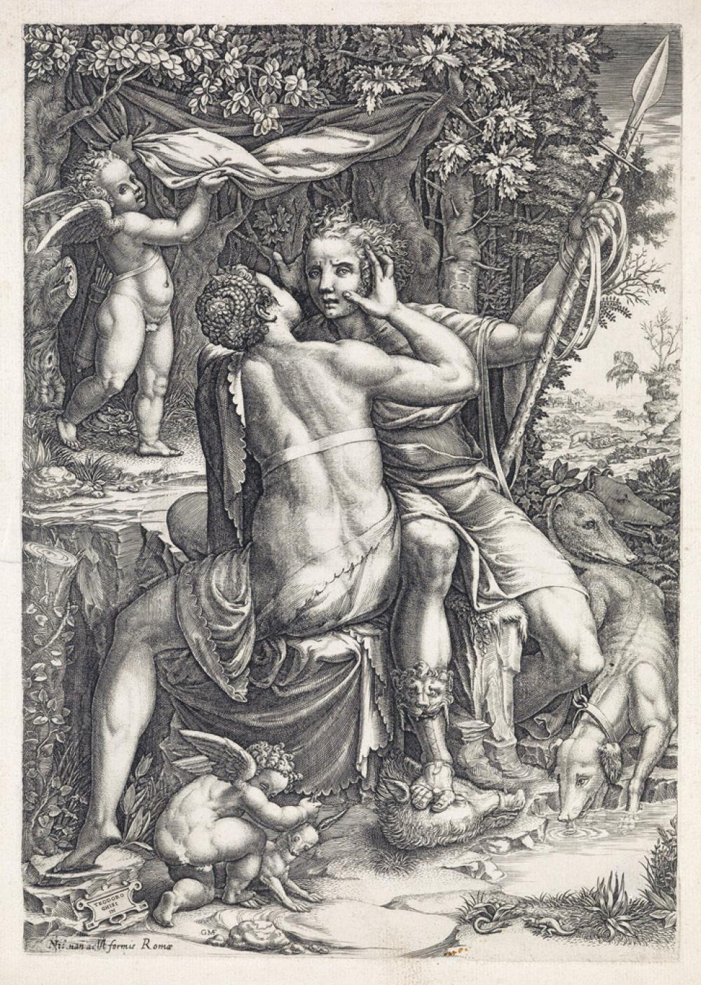 GIORGIO GHISI Venus and Adonis.