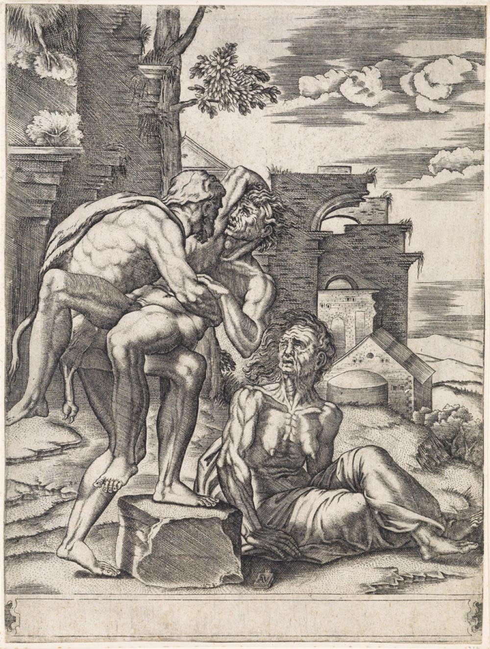 AGOSTINO VENEZIANO (after Raphael) Hercules Wrestling Antaeus in the Presence of an Old Woman, likely Earth, Antaeus' Mother