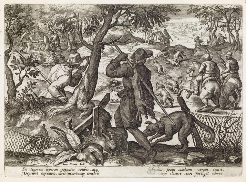 JAN VAN DER STRAET (after)  Group of 6 engravings of hunting scenes