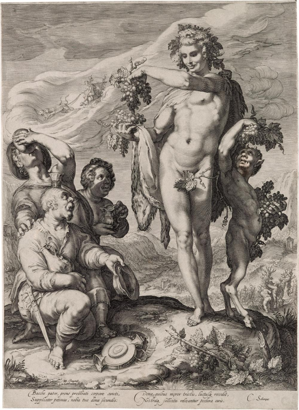 JAN SAENREDAM (after Goltzius) Hommage Paid to Bacchus