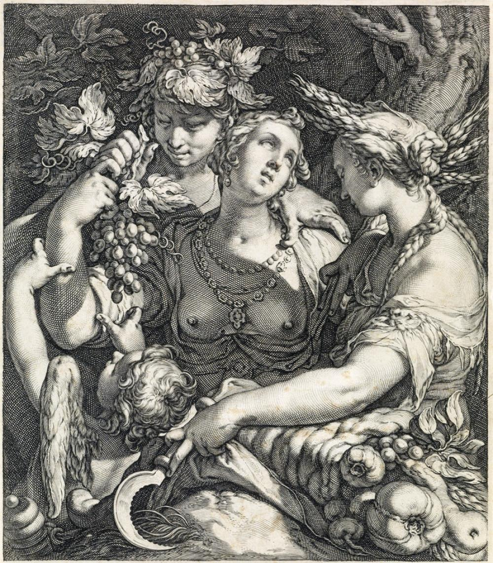 JAN SAENREDAM (after Bloemaert) Venus, Ceres and Bacchus