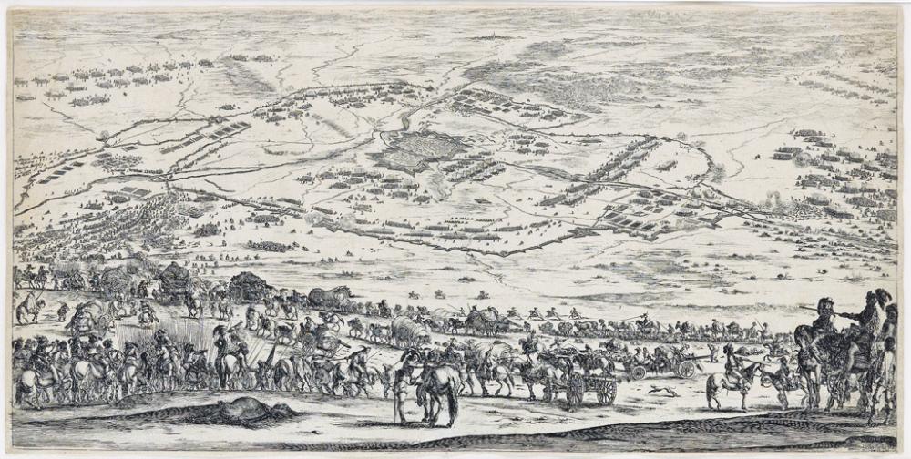 STEFANO DELLA BELLA Plan et vue de la ville d'Arras.