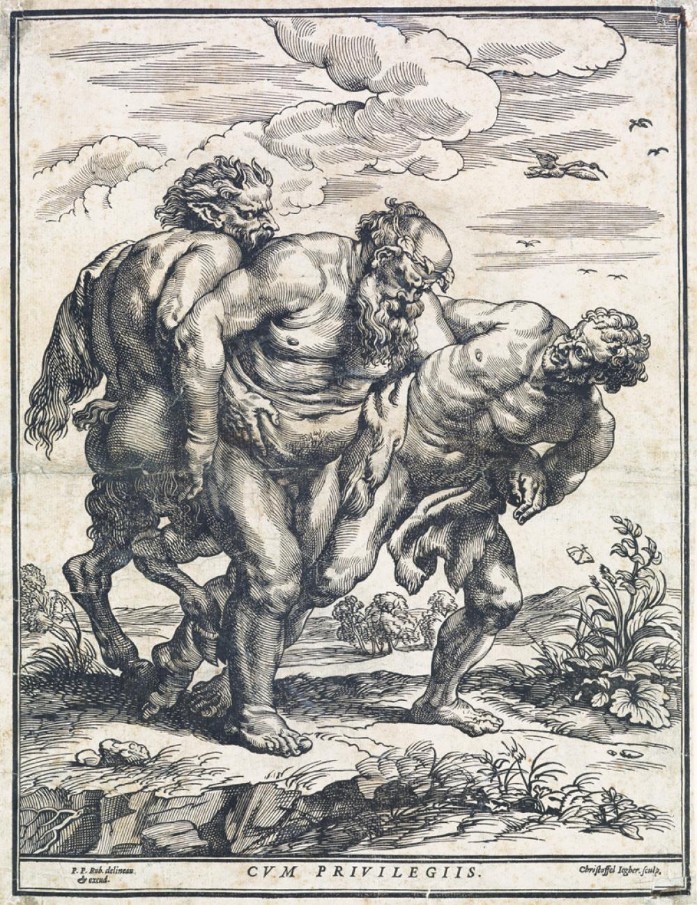 CHRISTOFFEL JEGHER (after Rubens) Silenus Accompanied by a Satyr and a Faun