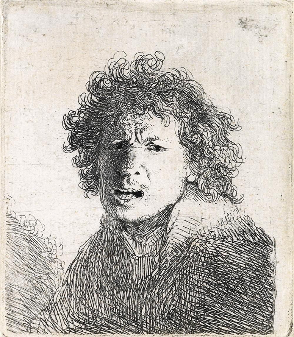 REMBRANDT VAN RIJN Self Portrait Open Mouthed, as if Shouting: Bust.