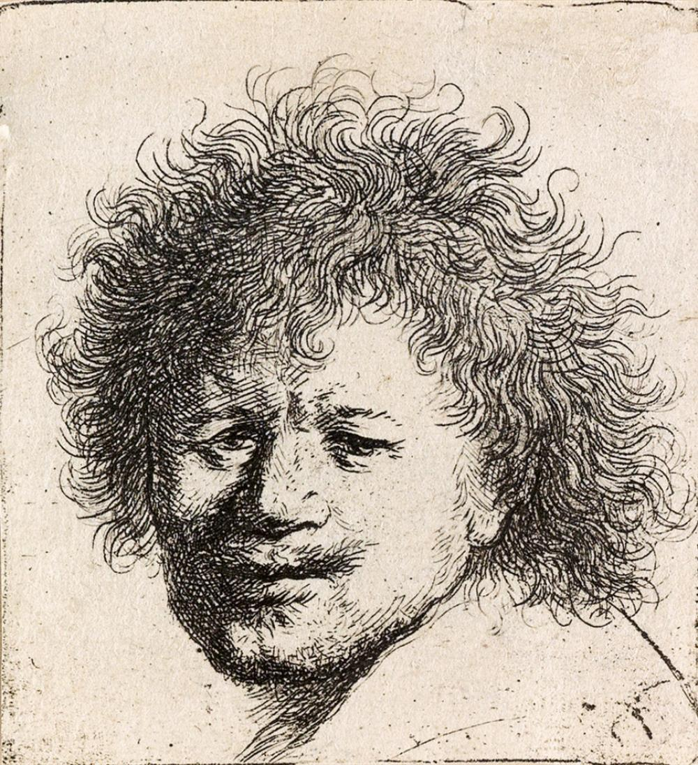 REMBRANDT VAN RIJN Self Portrait with Long, Bushy Hair: Head only.