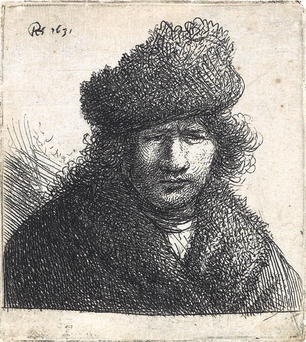 REMBRANDT VAN RIJN Self Portrait in a Slant Fur Cap: Bust .