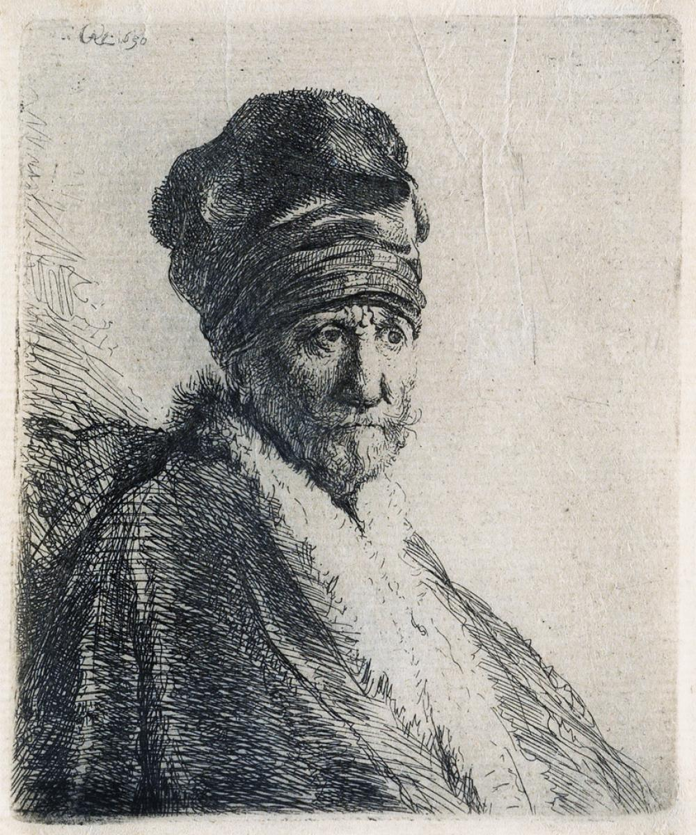 REMBRANDT VAN RIJN Bust of a Man Wearing a High Cap, Three-Quarters Right (The Artists Father ?).