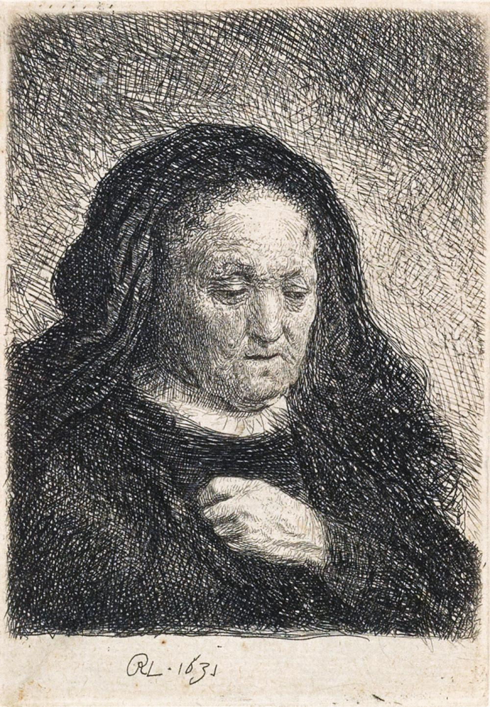 REMBRANDT VAN RIJN The Artist''s Mother with her Hand on her Chest: Small Bust.