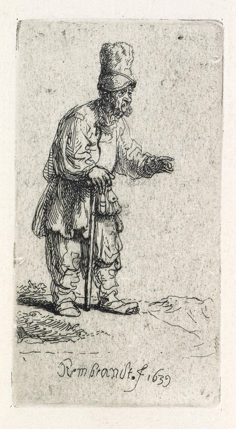 REMBRANDT VAN RIJN A Peasant in a High Cap, Standing Leaning on a Stick.