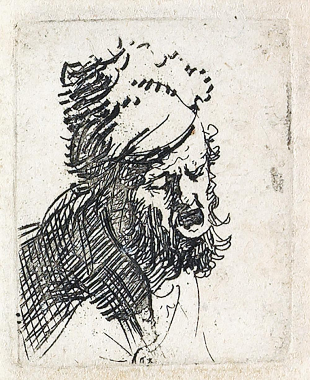 REMBRANDT VAN RIJN Head of a Man in a Fur Cap, crying out.
