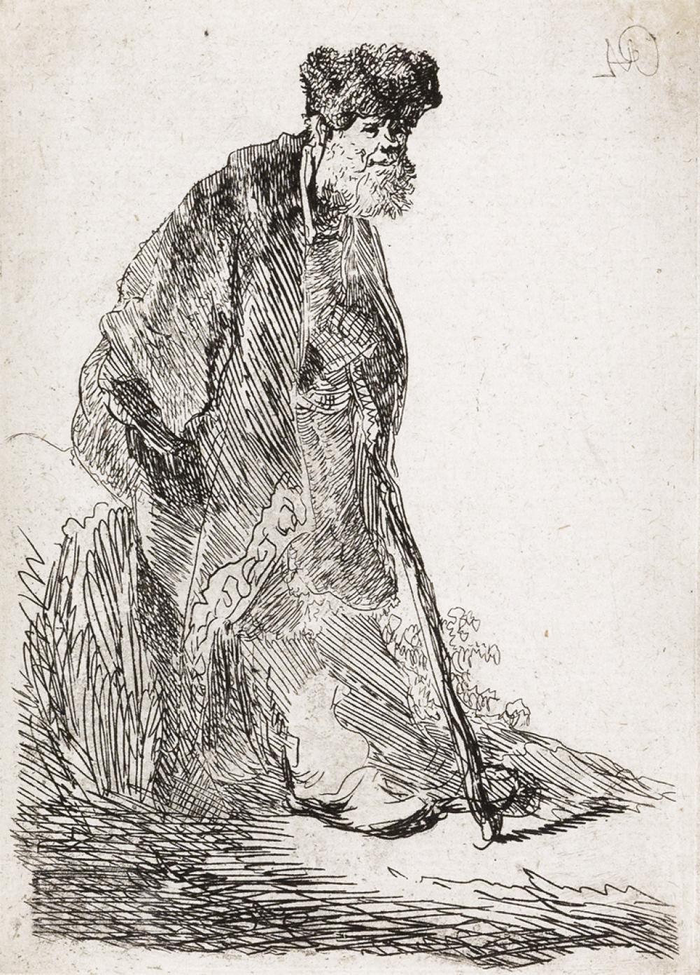 REMBRANDT VAN RIJN Man in Coat and Fur Cap Leaning against a Bank.