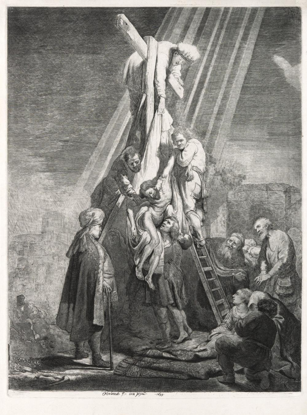 REMRBANDT VAN RIJN The Descent From the Cross: Second Plate.